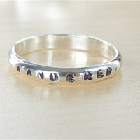 Personalized Ring. Engraved Silver Ring. Secret message stamped Ring. Hand stamped gift ring. Made to order