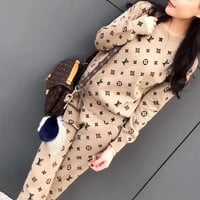 """Louis Vutitton"" Women Casual Fashion Logo Letter Long Sleeve Knit Sweater Trousers Set Two-Piece Sportswear"