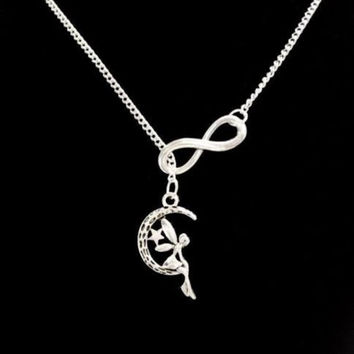Fairy Crescent Moon Star Guardian Angel Mythical Gift Lariat Style Necklace