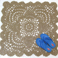 Lacy Square Jute Rug - Pineapple Crochet Rug - Square Throw Rug - Doily Rug - Kitchen Mat - Hippie Decor - Cottage Chic - Outdoor Rug - RTS