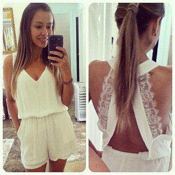 summer women Jumpsuit short dress v neck lace white   = 4769223556