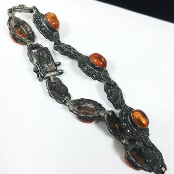 Amber Marcasite Sterling Silver Bracelet Vintage 1930s 1940s Art Nouveau Style Signed 925 Oval Links Safety Lock Gift for Her Mid Century