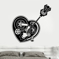 Vinyl Wall Decal SteamPunk Mechanical Heart Gears Car Lock Stickers Unique Gift (1682ig)