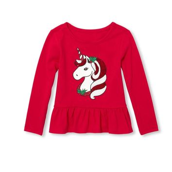 Baby And Toddler Girls Long Sleeve Embellished Christmas Peplum Top