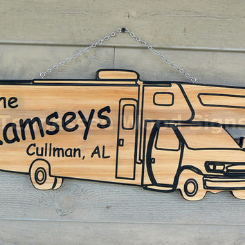 Personalized RV Camper Signs - This is a Carved Class C Camper we also have 5th Wheel, Class A or Travel Trailer-Camp Ground-Gift-RV