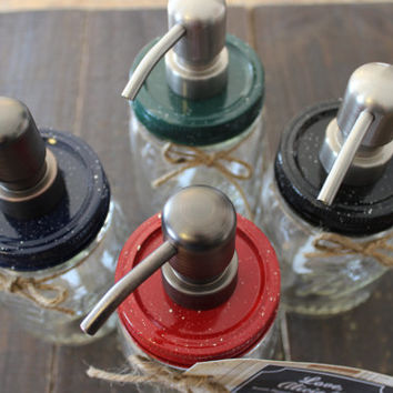 Mason Jar Soap Dispenser - Vintage Splatter - 'Granite Ware' Style <3