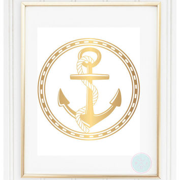 Nautical Wall Decor, 8x10, Instant Download, Nursery Gift, Printable Art, Home Deccor, Nautical Print, Anchor Print, Anchor Nautical