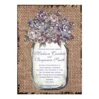 Vintage Mason Jar Burlap Rustic Wedding Invitation