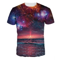 S--XXL New Galaxy Sea 3D T Shirt Men Women Fashion Ocean Printed Short Sleeve T-shirt Brand Slim Fit Elastic Tee Shirt Tshirt