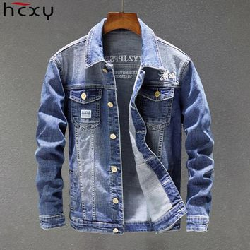 HCXY 2018 autumn Fashion Men Jacket Coat Denim cotton Jacket  Mens Jean Jacket Outwear Male Cowboy Plus Size 5XL