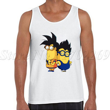 Funny Minions design Men cartoon printed tank tops casual Super Saiyan Minion basic Vest hipster funny cool singlet
