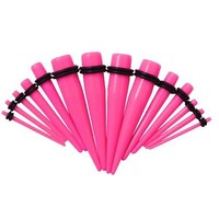 BodyJ4You 18 Pieces Pink Ear Gauges Acrylic Taper Stretching Kit Gauges Sizes 14G-00G