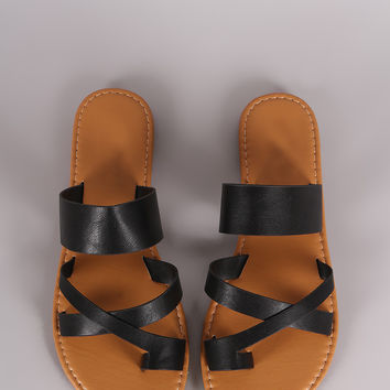 Bamboo Leather Strappy Toe Ring Flat Slip On Sandal