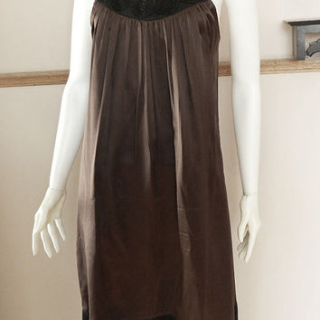Brown Silk Shift Dress, Embroidered Neckline, Sleeveless Spaghetti Strap Silk Dress/Slip, Cocktail Silk Dress, Size 10