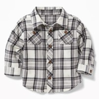 Plaid Double-Pocket Twill Shirt for Baby old-navy