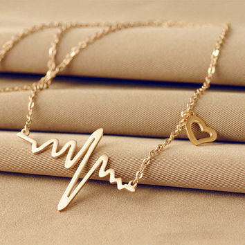 2016 New Fashion Vintage New 2015 Fashion Cute Heart Beat Necklace Gold Plated Simple Korean Necklaces & Pendants Jewelry