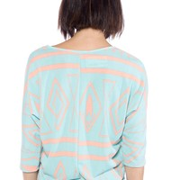 At Last Looks Aztec Print Knit Tee - Teal from Loila at Lucky 21