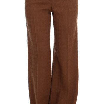 Dolce & Gabbana Brown Wool Stretch High Waist Pants