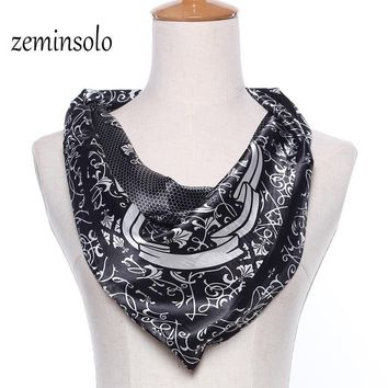Modern Fashion 60*60cm Square Scarf For Women Plaid Hot Sale Girl Silk Scarf Women Scarves Stole Bandana Soft Print Shawl Hijab