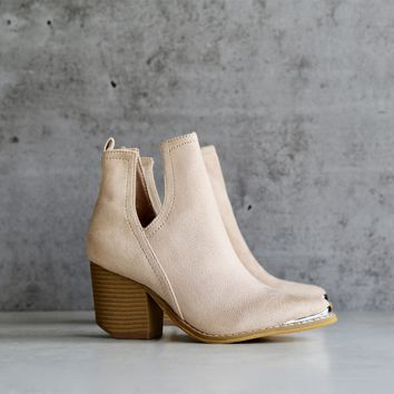 vegan suede side cut out bootie with metal tip - nude