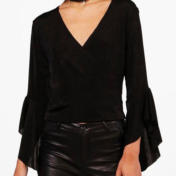 Lauren Cross Over Wrap Top | Boohoo