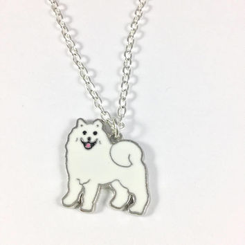 Samoyed Charm Necklace-Dog lovers chain-Smiling Sammy dog charm-Samoyed Jewelry-Petlovers gift-American Eskimo charm-Stocking Stuffers-