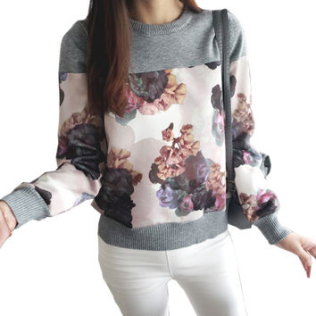 2016 New Autumn Fashion Women Sweater Elegant Flower Print O-Neck Patchwork Pullover Slim Fit Casual Tops Knitted Jumper