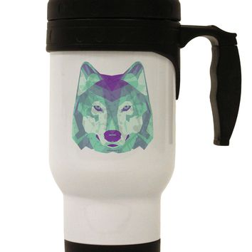 Geometric Wolf Head Stainless Steel 14oz Travel Mug by TooLoud