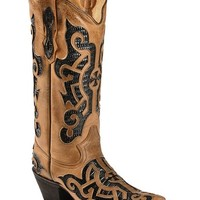 Tanner Mark Barcelona Lizard Print Inlay Cowgirl Boots - Pointed Toe - Sheplers