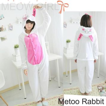 Metoo White Rabbit - Cute Pajamas Animal Onesuit Cosplay Costume Unisex Sleepwear Party Nightgown Pockets