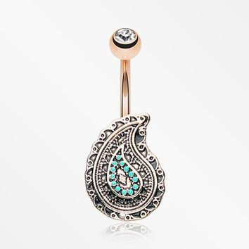 Rose Gold Vintage Boho Paisley Turquoise Belly Button Ring