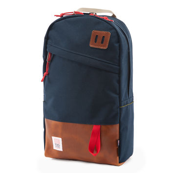 DAYPACK NAVY/BROWN LEATHER