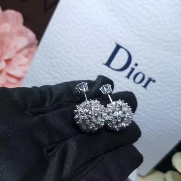 2018 Trending Dior S925 Sterling Silver full drill Rhinestone Earring gold hoop stud drop Jewelry