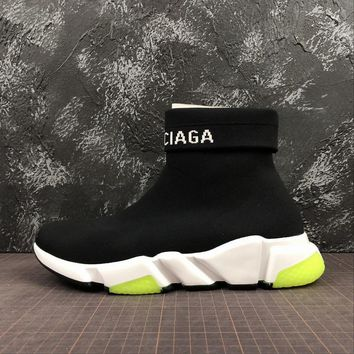 Balenciaga Speed Trainers With Tricolor Sole Black - Best Online Sale