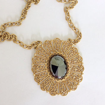 70s Necklace / 70s Filigree Necklace / 70s Pendant Necklace / 70s Costume Jewelry / Boho Necklace / Hippie Necklace / Large Pendant Necklace