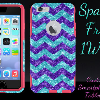 "OtterBox Commuter Series Case for 4.7"" iPhone 6 - Custom Glitter Case for 4.7"" iPhone 6 - Purple Small Chevron Paradise/Pink"