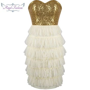 Angel-fashions Strapless Sequined Tiered Tassel lace up  Mini Cocktail Dress  robe de soiree  Gold Champagne 266