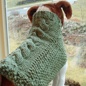 Dog Sweater Hand Knit Sage Cable Medium by jenya2 on Etsy