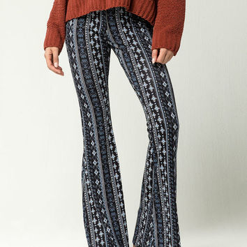 SKY AND SPARROW Linear Diamond Womens Flare Pants