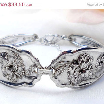 Spoon Bracelet Free Shipping Antique Silver Spoon Spoon Jewelery, Silver Spoon Jewelery, Carnation, Sterling Silverplate Vintage Jewelry