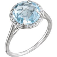 14k Gold Sky Blue Topaz and .05CTW Diamond Halo Ring