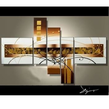 Free Shipping painting by numbers oil wall art Golden clouds Home Decoration Modern Abstract Oil Painting on canvas 5pcs/set