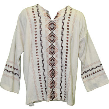 Men's Oaxacan Embroidered Shirt - Creme