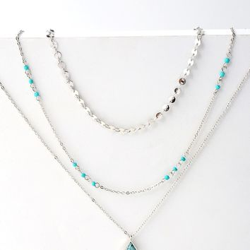 Sonora Turquoise and Silver Layered Necklace