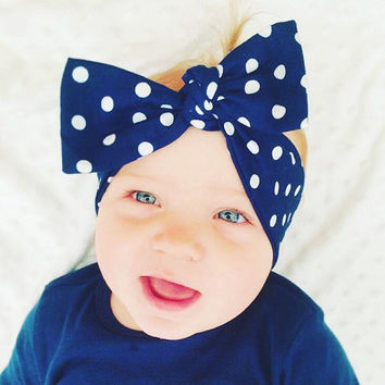 Baby girl head wrap scarf bandana bow tie headband minnie disney inspired polka dot red or navy baby children jewelry&accessory love factory