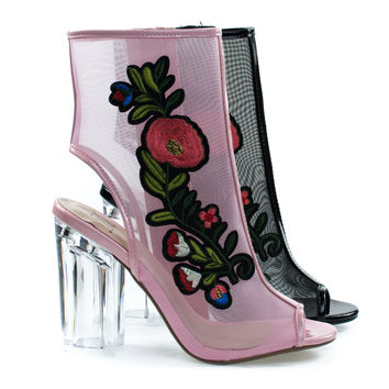 Ylang Pink Flower by Delicious, Floral Embroidery Patch, Lucite Perspex Block Heel See Through Mesh Bootie