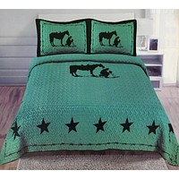 Turquoise Cowboy & Horse Western 3 Piece Bedding Set