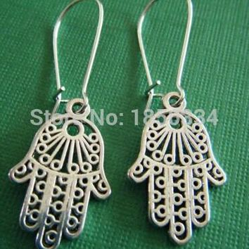 50Pair Fashion Ancient silver Hamsa Fatima hand Charms Dangle Earrings For Women With Gift Box DIY Findings Jewelry Z110