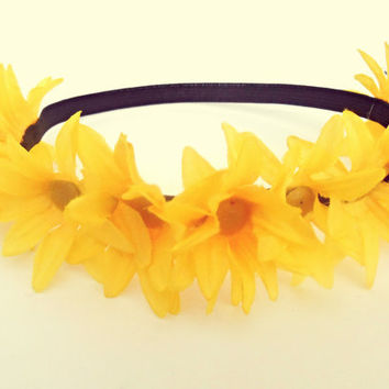 Yellow Daisy Flower Crown Coachella Flower Headband Bohemian Hair Accessories Hippie Headband