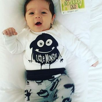 Newborn Baby Boy Clothes Long Sleeve Little Monster Tops + Pants Toddler Kids 2PCS Outfit Baby Clothing Set